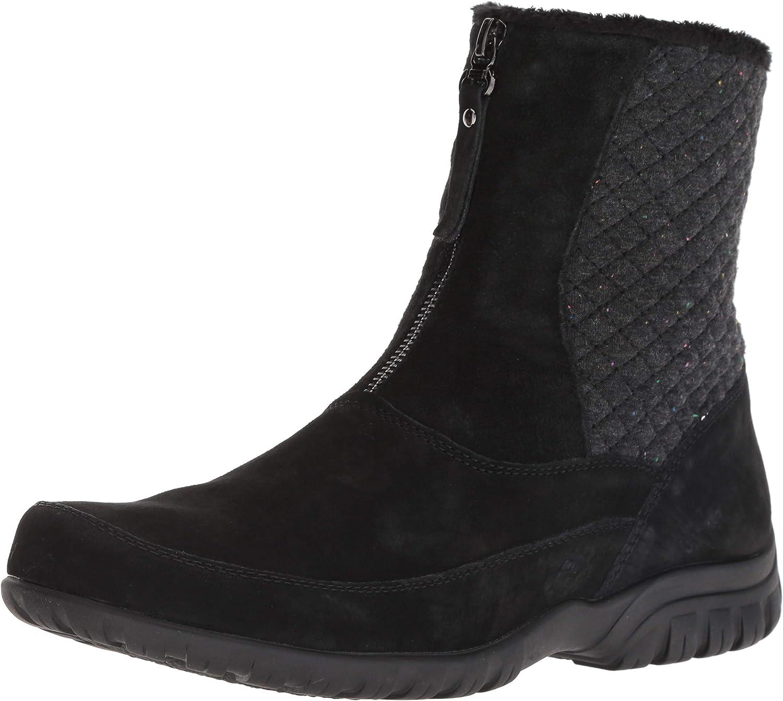 Propet Women's Delaney Mid Zip Calf Boot, Black Suede, 8H Wide Wide US
