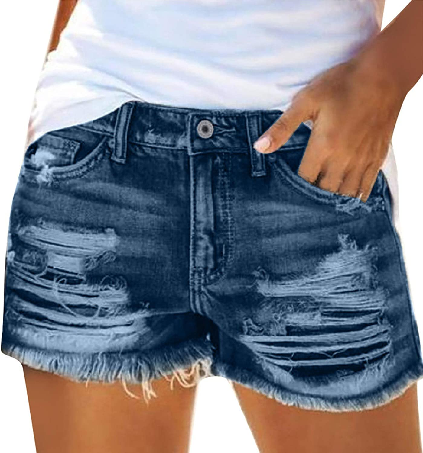 Denim Hot Shorts for Women Hole Frayed Raw Hem Ripped High Stretch Mid Rise Shaping Pull-on Skinny Jeans Pants