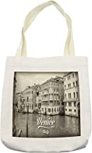 Ambesonne Venice Tote Bag, Old Photo of Venice Italian City Vintage Filter Effect and Lettering History Memory, Cloth Linen Reusable Bag for Shopping Books Beach and More, 16.5