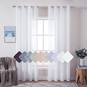 MIULEE 2 Panels Natural Linen Sheer Window Curtains Elegant Solid White Drapes Grommet Top Window Voile Panels Linen Textured Panels for Bedroom Living Room (52X90 Inch)