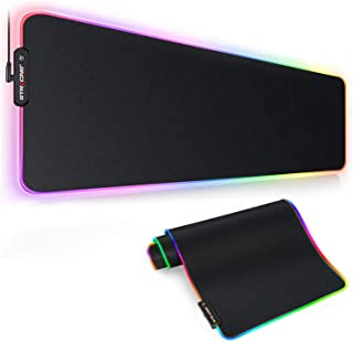 GTRACING RGB Gaming Mouse Pad, Large Extended Soft Mousepad with 10 Lighting Modes, Computer Keyboard Mousepads Mat,Black