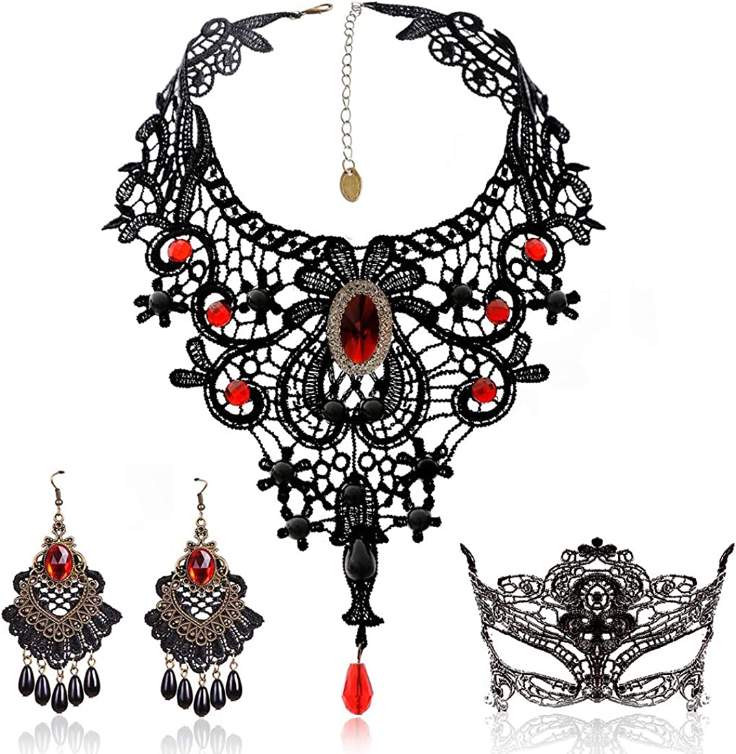 Black Lace Necklace and Earrings Set,BagTu Gothic Lolita Red Pendant Choker for a Halloween Costume and Wedding