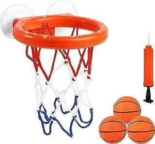Cyfie Bath Toy Basketball Hoop & Balls Set, Bathtub Office Balls Playset with 3 Hard Balls for Boys Girls Kids Toddlers Ba...