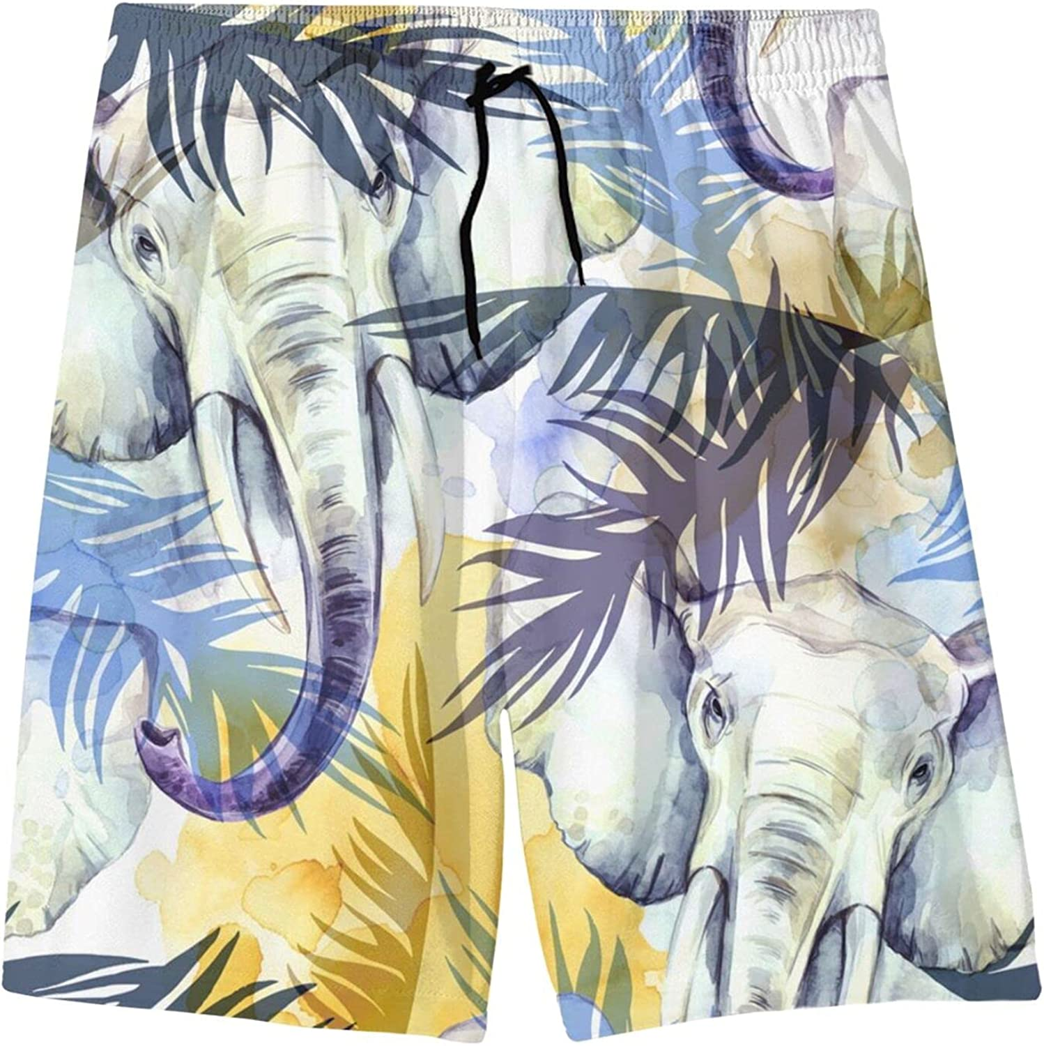Fairy UMI Watercolor Elephant Boys Quick Dry Swim Trunks Youth Fashion Beach Surfing Board Shorts 7-20 Years