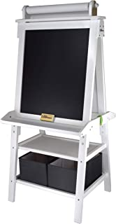 Little Partners Deluxe Art Easel - Two Sided A-Fram Paint Easel, Chalk Board & Magnetic Dry Erase - w/Storage, Supply Holder & Paper Feed-Art Station & Educational Tool for Toddlers (Soft White)