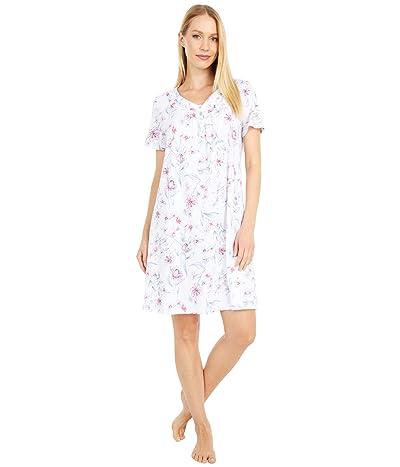 Carole Hochman Soft Jersey Short Sleeve Sleepshirt (White Multi Floral) Women