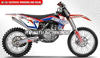 Kungfu Graphics Custom Decal Kit for 125 150 250 350 450 SX SXF SX-F XCF XC-F 2013 2014, Red Blue Black