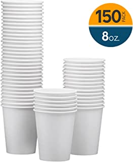 NYHI 150-Pack 8 oz. White Paper Disposable coffee cups – Hot/Cold Beverage Drinking paper cups for Water, Juice, Coffee or Tea – Ideal for Water Coolers, Party, or Coffee On the Go'