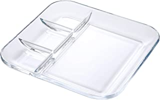 FOYO Tempered Glass Divided Transparent Salad Platter, 10'' Lunch/Dinner Dish for Dividing Sauces/Jam/Side Dish and Food - Healthy Lifestyle Dinnerware