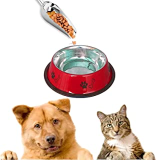 Sage Square Heavy Quality, Round Shape, Anti Skid, Stainless Steel Food/Drink Bowl for Dog/Cat/Other Pets (Small, Red)