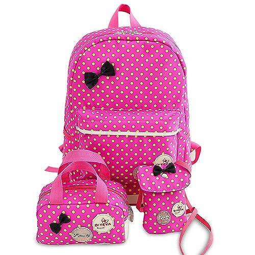 356b83e0df School Bags for Girls Cute Dot 3 Sets Kids Book Bag School Backpack Handbag  Purse Lightweight