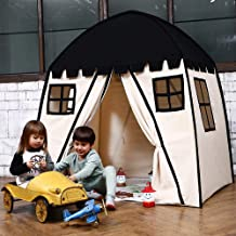 Love Tree Large Kids Teepee Tent Portable Children Play Tent for Boys Indoor Outdoor Use Fort with Carrying Case Black