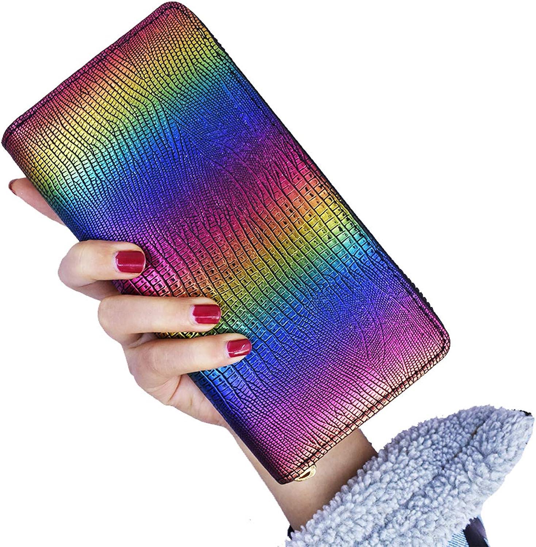 Womens Wallet Gradient Laser color Purse Evening Handbag for Women and Teen Girls