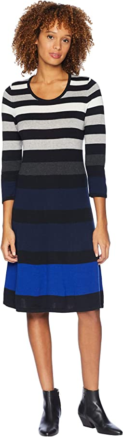 3/4 Sleeve Fit & Flare Multicolor Striped Dress
