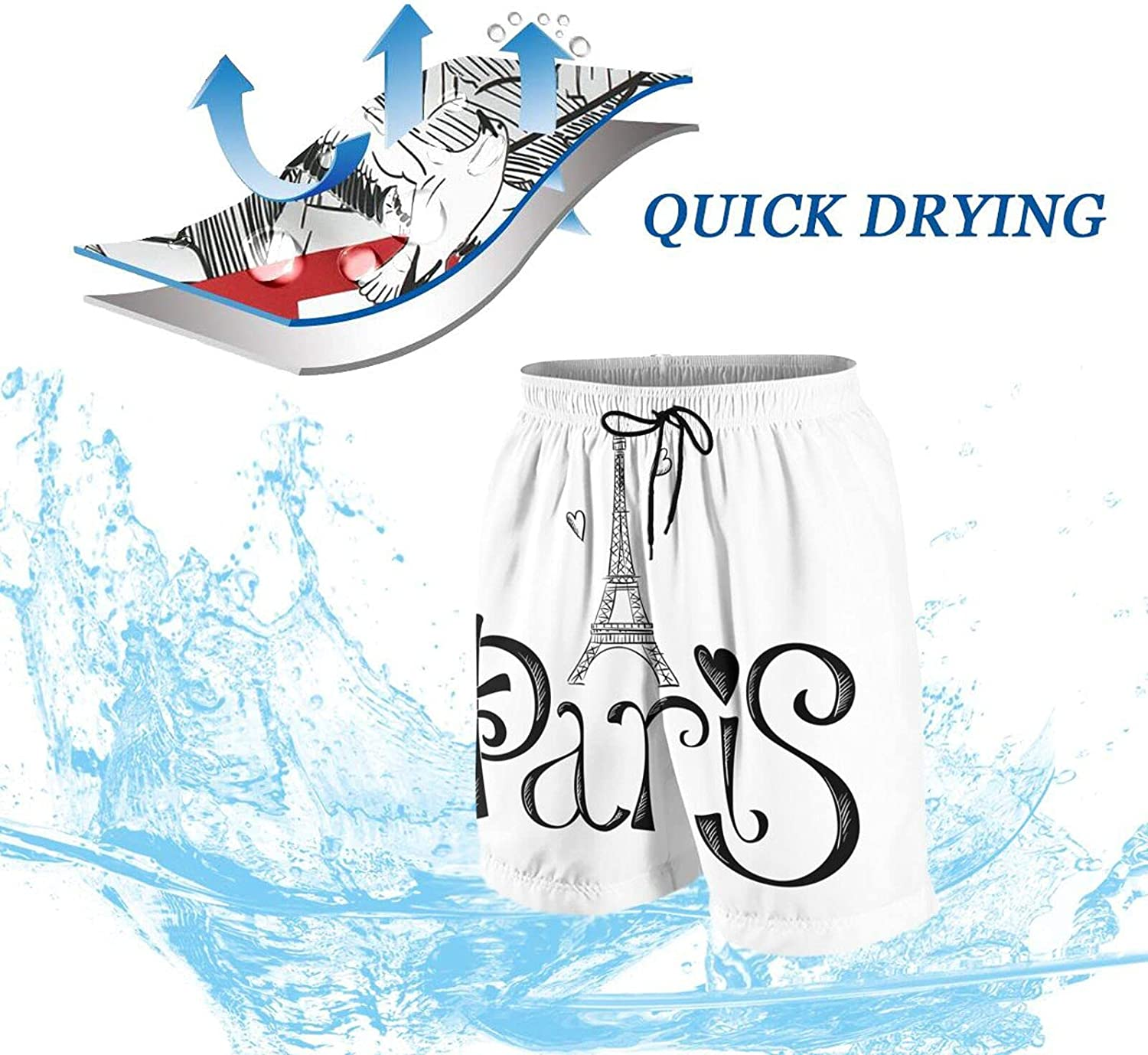 and Drawn with Eiffel Tower Paris Kids Beach Shorts Youth Boys Board Shorts Trunk Swim Swimming Pants for 7-20 Years White
