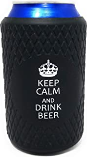 Beer Can Coolers | Funny Coolies for Cans | Silicone | Collapsible | Perfect for Party, BBQ, Events | Great Gift | Black | Keep Calm & Drink Beer| x1 |