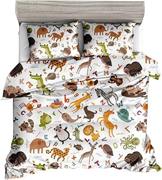 Amazon Com Jwellking Lil Animals Bedding Sets For Kids 3 Piece Full Size Duvet Cover Set 1 Duvet Cover 2 Pillow Shams Cartoonanimal English Alphabet And Animal Printed In Duvet Cover Sets Help Lernning Kitchen Dining