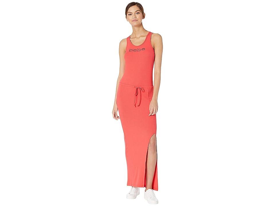 Bebe Cinch Waist Logo Maxi Dress (Hibiscus) Women