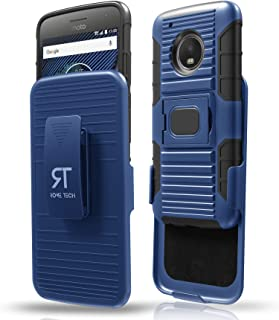 Rome Tech Moto G5 Plus Holster Case, Hybrid Shockproof Full Body Motorola G5 Plus Cover with Built-In Kickstand, Swivel Belt Clip and Magnetic Car Mount - Blue