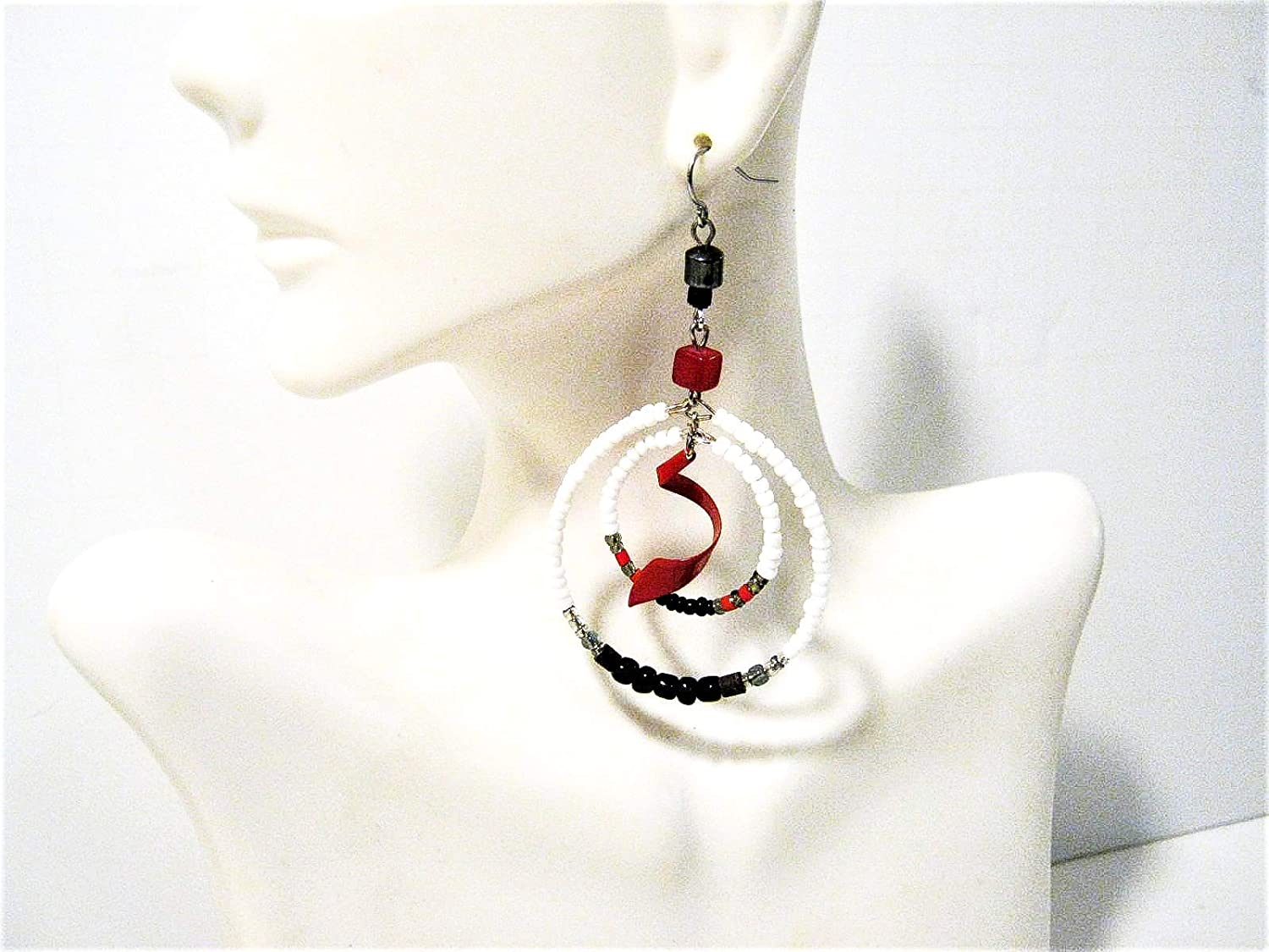 Red Swirl Gemstone Accent Big Sale Special Max 75% OFF Price style Hippie pierced Earrings Hoop