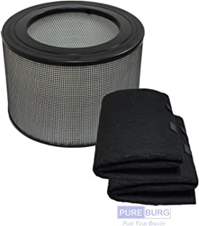 Pureburg Replacement HEPA Filter and 2 Wrapping Carbon Pre-Filters for Honeywell 24000 24500 50250-S 52500