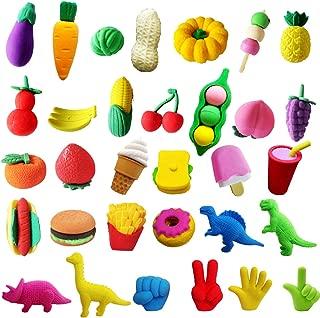 Pruk 32 Pack Food and Dinosaur Erasers, 3D Cute Mini Erasers, Take Apart Pencil Eraser, for Party Favor School Classroom Rewards, Fruit Vegetable Puzzle Eraser Novelty Toy