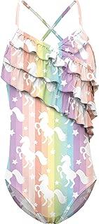 TUONROAD Girls One Piece Swimsuits Fashion Floral Three Layers Ruffle Swimwear 4T-12T