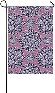 YOLIYANA Purple Mandala Utility Garden Flag,Middle Eastern Oriental with Ornamental Featured Lines Decorative for Home,18″ LX 12″ W