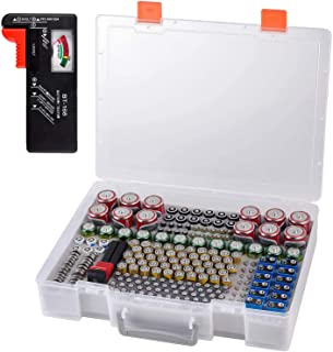 Battery Organizer Holder- Batteries Storage Containers Box Case with Tester Checker BT-168. Garage Organization Holds 225 ...