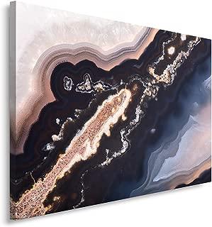 Feeby Frames Cuadro en Lienzo, Cuadro Impresión, Cuadro Decoración, Canvas 80x120 cm, Acuarela Abstracta, Azul, Negro, Rosa