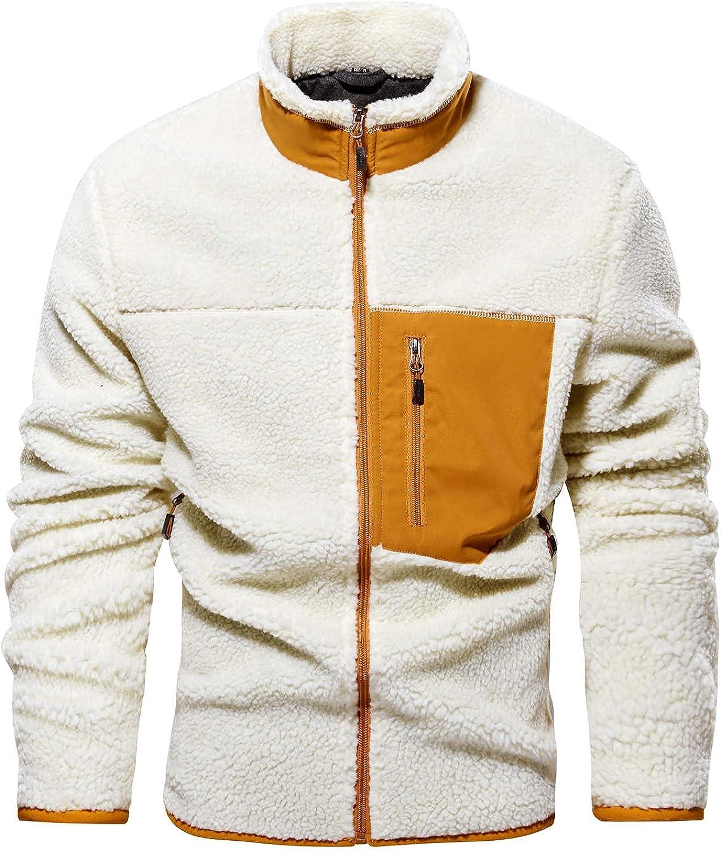 Huangse Mens Soft Polar Fleece Jacket Lightweight Full Zip Outdoor Winter Casual Stand Collar Warm Coat with Zipper Pockets