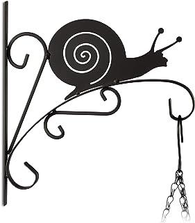 Relaxdays, negro macetas caracol, gancho de pared para cestos, decoración de jardín, metal, 30 x 28 x 2 cm