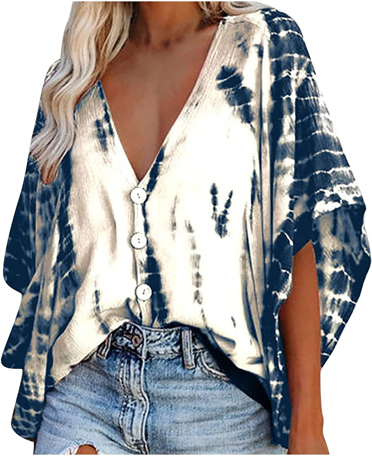 Womens Summer Tops Deep V Neck Tunic Tops Loose Half Sleeve Shirts Casual Buttons Tees Fashion Tie Dye Blouse