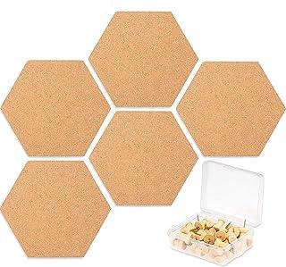 Cork Board, DELFINO DIY Pin Notice Board 8 Pcs, Hexagon Wall Bulletin Boards with 20 Push Pins for allows you to nail or h...