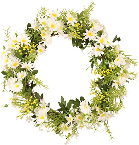 """2021 Daisy Flower Wreath for Front online sale Door Artificial Spring Summer Floral Wreath Wall Hanging 2021 Decoration Ornament Easter Home Decor 13"""" online sale"""