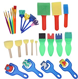 Sponge Paint Brushes Kits, Lightweight and Reusable Non-Toxic and Harmless Paint Sponges for Kids, for Kids Craft Art Supp...