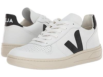 VEJA V-10 (Extra-White Black Leather) Athletic Shoes