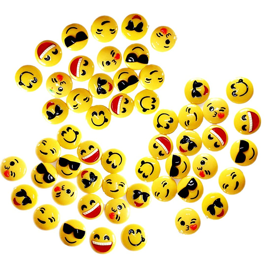 Assorted 50 Pack Kawaii Half Round Emoji Slime Charms Smiley Face Resin Flatbacks Beads for Miniature Fairy Garden Accessories Girls Hair Accessories Supplies