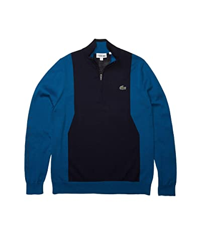 Lacoste Long Sleeve 1/4 Zip Sweater (Navy Blue/Mariner/Navy Blue) Men