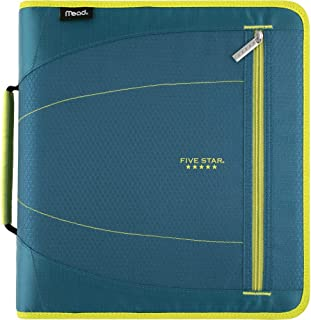 Five Star 2 Inch Zipper Binder, 3 Ring Binder, Removable File Folders, Durable, Teal/Chartreuse (29036IH8)