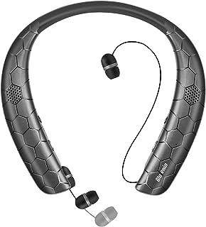 ネックスピーカー ワイヤレスイヤホン 1台2役 「Bluetooth4.1/ウェアラブル/3Dステレオ/ハンスフリー」 マイク内蔵 IPX5防水 CVC6.0ノイズキャンセリング ボイスプロント 15時間連続再生 Bluetooth ヘッドセット(ブラック)