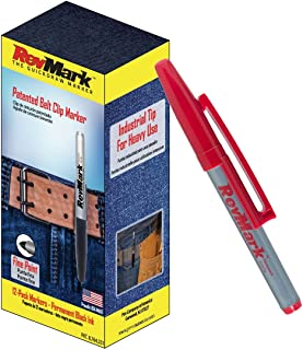 12-Pack of RevMark Industrial Permanent Marker with Patented Holster Cap, Fine Point, Red Ink, Made in the USA