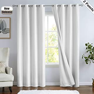 Ronaldecor Full Blackout Faux Silk Curtain Curtain Panels Grommets Top Window Treatment- Thermal Insulated Noise Reducing ...