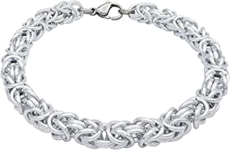 ParticolarModa Bracciale in maglia bizantina Unisex in alluminio e acciaio colore Argentato 6 o 5 mm