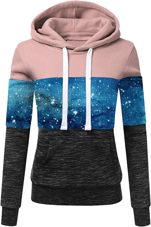 Hotkey Women In stock Long Sleeve Hoodies Print Col Bombing free shipping Sweatshirt Starry Sky