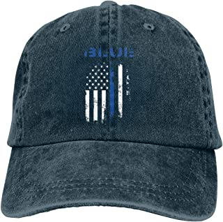 Men Women Adjustable Denim Fabric Baseball Caps Police Thin Blue Line Trucker Cap