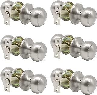6 Pack Classic Brushed Nickel Passage Door Knobs, Stainless Steel Hallway closet Door Handles,Stain Nickel Keyless Interior Door Handles