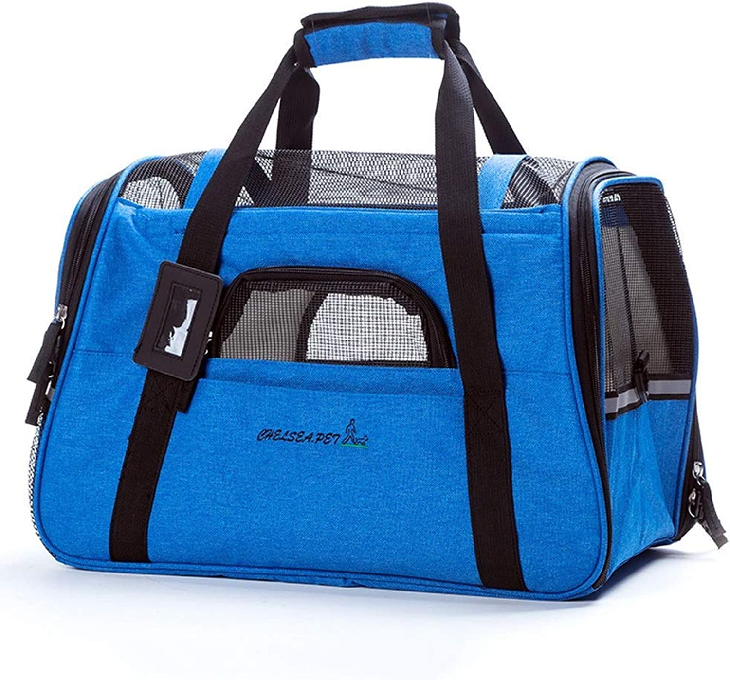 Pet Travel Carrier Pet Carrier for Small Dogs, Cats, Puppies, Kittens, Pets Carry Your Pet with Safely and Comfortably Ourtdoor Pet Bag (color   Dark bluee)