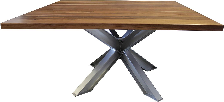 Amazon Com Black Walnut Square X Base Industrial Aluminum Pedestal Table Approx 60 X 60 X 30 T Harvest Wheat Finish Kitchen Dining