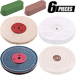 Swpeet 6Pcs 6 Inch Buffing Polishing Wheels with 2 Colors Polishing Compounds Kit, Including 1Pcs Cotton (30 Ply), Flannel (30 Ply), Sisal (5 Ply) and Denim (35 Ply)Polishing Pad for Bench Grinder